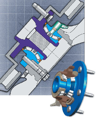 A cutaway and section view of a Timken wheel bearing.